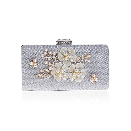 Purses Prom Evening Pearls Silver Beaded Women Bags with Wedding Party Flower Handbags Cocktail Clutches wggqfzS