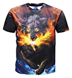 Pizoff Unisex 3D Printed Wolf Casual Short Sleeve T Shirts Tees Y1625-K8-XL