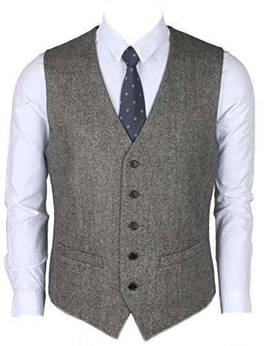 Ruth&Boaz 2Pockets 5Buttons Wool Herringbone / Tweed Business Suit Vest (XL, Tweed - Wool Button Two Herringbone