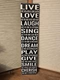 Ruskin352 Live Laugh Love Sing Dance Dream Play Give Smile Cherrish Family Farmhouse Fixer Upper Style Wall Art Black Huge Wood Sign