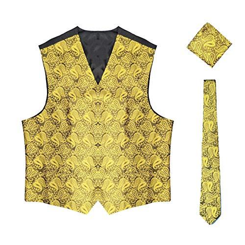 WULFUL Men's 3pc Paisley Vest Necktie Pocket Square Set for Suit or Tuxedo (Gold, S(Chest 41)