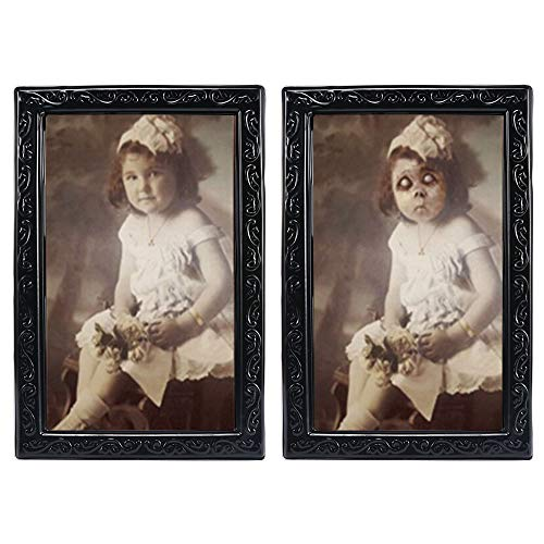 Halloween Lenticular 3D Changing Face Horror Portrait,KOBWA Haunted Spooky Halloween Decorative Painting Frame Props ()
