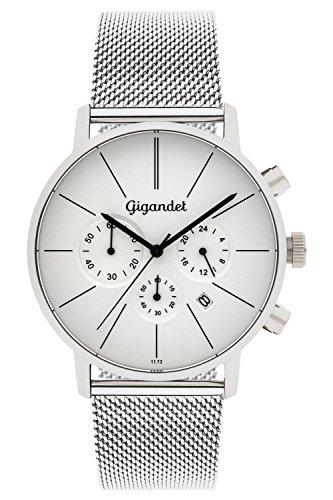 Gigandet Quarz Herren-Armbanduhr Minimalism Chronograph Uhr Datum Analog Edelstahlarmband Silber G32-005