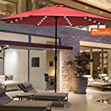 Sundale Outdoor 10 Ft Sunbrella Canopy Solar Powered 72 LED Lighted Patio Market Umbrella Garden Outdoor Aluminum Umbrella with Crank, Harwood Crimson