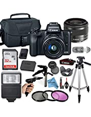 $699 » Canon EOS M50 Mirrorless Digital Camera (Black) with 15-45mm STM Lens + Deluxe Accessory Bundle + Inspire Digital Cloth