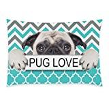 InterestPrint Puppy Pug Dog Pug Love Green Chevron Pattern Pillowcase Standard Size 20 x 30 Inches One Side, A Pug Dog with Pug Love in Hands Chevron Pillow Cases Cover Shams Decorative