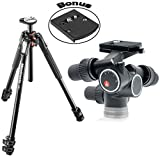 Manfrotto MT190XPRO3 3 Section Aluminum Tripod with 405 Pro Digital Geared Head and a Bonus 410PL Low Profile Quick Release Adapter Plate