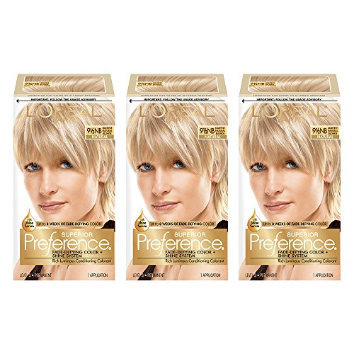 L'Oréal Paris Superior Preference Fade-Defying + Shine Permanent Hair Color, 9.5N Lightest Natural Blonde, 3 COUNT Hair Dye