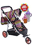 Exquisite Buggy Twin Jogger DOLL Stroller with Diaper Bag and Adjustable Handle With 2 FREE Magic Bottles Included