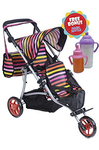 Jogger DOLL Stroller with Diaper Bag and Adjustable Handle With 2 FREE Magic Bottles Included (Twin Jogger)