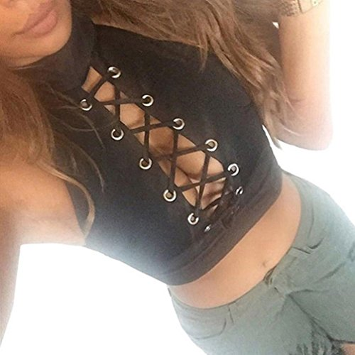 2018 Women Tops Ladies Round Neck Blouse Sleeveless Tee Shirt Crop by TOPUNDER