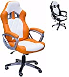 ViscoLogic Series YF-2710 WO Gaming Racing Style Swivel Office Chair, WHITE/Orange For Sale