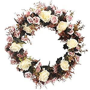 Duovlo Rose Floral Twig Wreath 19 Inch Handmade Artificial Flowers Garland Front Door Wreath 107