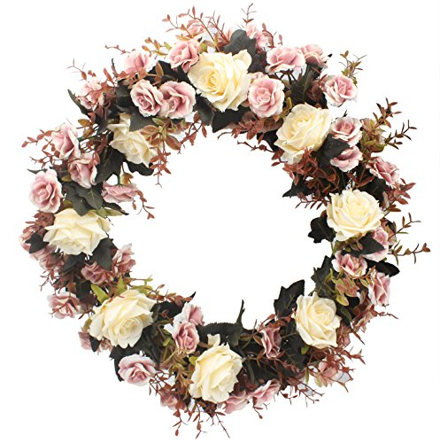 Duovlo Rose Floral Twig Wreath 19 Inch Handmade Artificial Flowers Garland Front Door Wreath ()