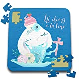3dRose Uta Naumann Sayings and Typography - Cute Teal Watercolor Animal Illustration - Bunny - Always Teatime - 10x10 Inch Puzzle (pzl_289940_2)
