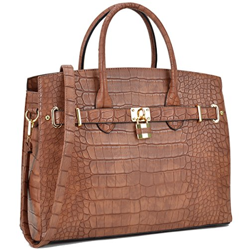 Cognac Leather Handbags - MKY Women Large Handbag Designer Purse Leather Satchel w/Removable Shoulder Strap Cognac