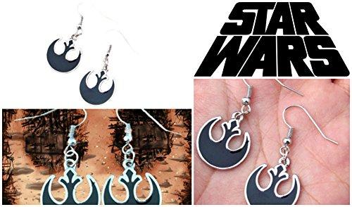 Star Wars Silvertone Rebel Alliance Dangle Earrings (Size: 1/2