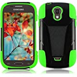 Lite Green Premium Double Protection 2 in 1 Hard + Silicon Hybrid Challenger Case Cover Protector with Kickstand for Samsung Galaxy Light T399 (by T-Mobile) with Free Gift Reliable Accessory Pen