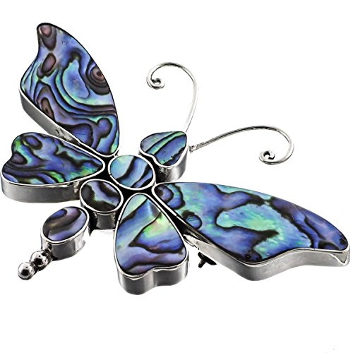 Butterfly Paua Abalone Shell 925 Sterling Silver Pendant And Brooch, 2 3/4