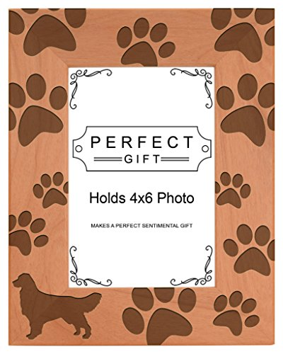 Gifts For All By Rachel Olevia Dog Lover Gift Golden Retriever Paw Prints Natural Wood Engraved 4x6 Portrait Picture Frame Wood ()