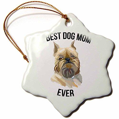 Griffon Ornaments (3dRose Carsten Reisinger - Illustrations - Best Brussels Griffon Dog Mom Ever - 3 inch Snowflake Porcelain Ornament (orn_273512_1))