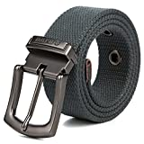 ITIEZY Men Canvas Belt 1.5'' Width Waistband Pin Buckle Outdoor Casual Adjustable