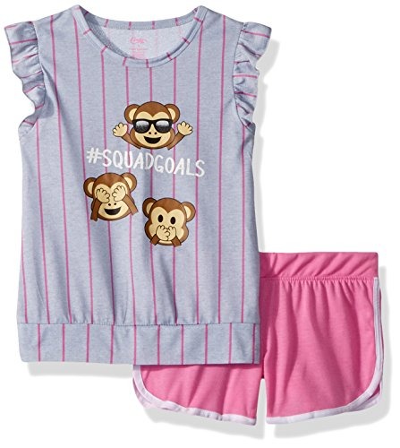 Monkey Sleep Sets - Candie's Big Girls' Tank and Short Set, Monkey #Squadgoals Grey/Pink, M
