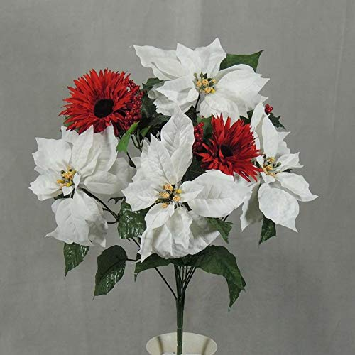 Factory Direct Craft White Poinsettia Red Gerbera Mixed Bush with Holly Berries (Holly Bush Berries)
