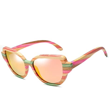 DING-GLASSES Gafas Moda Bamboo Cat Eye Gafas de Sol ...