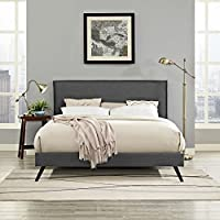 Modway MOD-5904-GRY Amaris Platform Bed with Round Splayed Legs, Queen, Gray