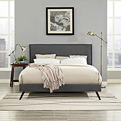 Modway Amaris Upholstered King Platform Bed Frame in Gray With Splayed Legs - BEDROOM REFRESH- Elevate a master or guest bedroom with mid-century style. Resting on round splayed legs, the clean lines and simple silhouette of this platform bed frame make it a modern classic UPHOLSTERED BED FRAME - Soft polyester fabric covers the frame of this upholstered bed and king headboard. Minimalist and elegant, this low platform bed is a durable addition supporting up to 1100 lbs LASTING QUALITY - Boasting a sturdy wood frame, this slatted bed frame comes reinforced for enhanced stability and supported sleep. Includes non-marking foot caps help to protect flooring. - bedroom-furniture, bed-frames, bedroom - 517HKKOxagL. SS400  -