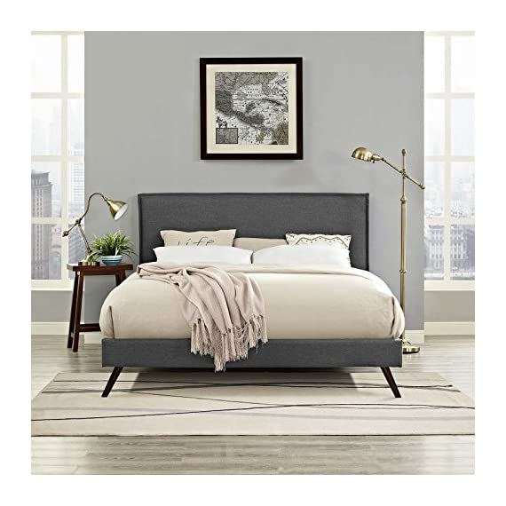 Modway Amaris Upholstered King Platform Bed Frame in Gray With Splayed Legs - BEDROOM REFRESH- Elevate a master or guest bedroom with mid-century style. Resting on round splayed legs, the clean lines and simple silhouette of this platform bed frame make it a modern classic UPHOLSTERED BED FRAME - Soft polyester fabric covers the frame of this upholstered bed and king headboard. Minimalist and elegant, this low platform bed is a durable addition supporting up to 1100 lbs LASTING QUALITY - Boasting a sturdy wood frame, this slatted bed frame comes reinforced for enhanced stability and supported sleep. Includes non-marking foot caps help to protect flooring. - bedroom-furniture, bedroom, bed-frames - 517HKKOxagL. SS570  -