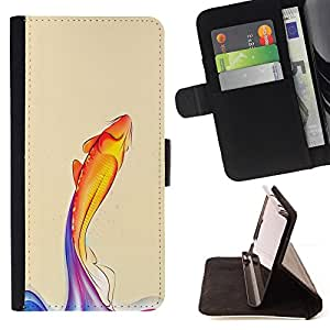 Rainbow Koi Fish - Painting Art Smile Face Style Design PU Leather Flip Stand Case Cover FOR Sony Xperia M2 @ The Smurfs