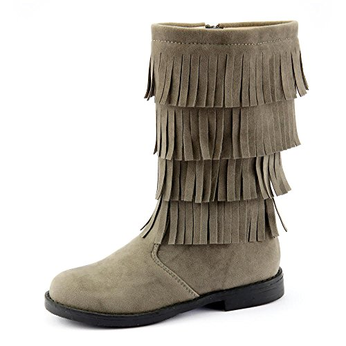 The Doll Maker Tall Fringe Flat Suede Boot - - Fringe Tall