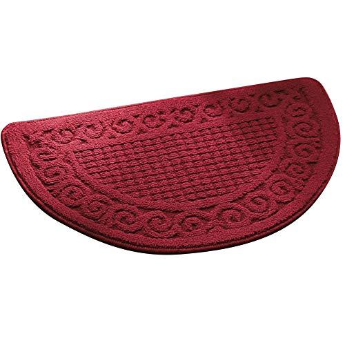 Echaprey Half Round Non-Slip Kitchen Bathroom Toilet Doormat Floor Rug Mat Keeps Your Floors Clean Home Decor (Small, Red)