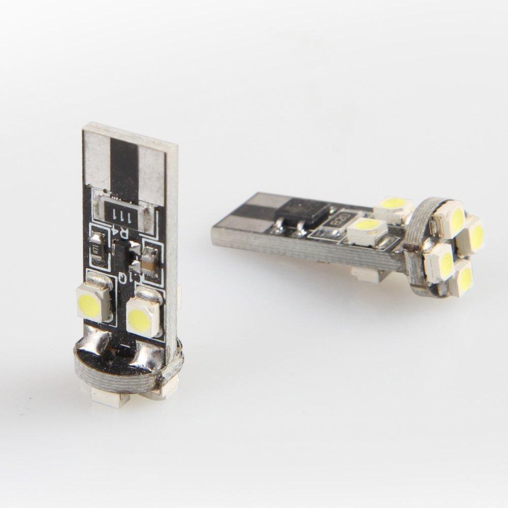 LAVMAR T10 194 168 2825 W5W 8-SMD Sans Erreur Ampoule LED pour Feux de Signalisation, Feux de Tableau de Bord, Feux de Coffre, Feux de Stationnement, Feux de Plaque d'immatriculation (Paquet de 2, 6000K) Feux de Plaque d' immatriculation (Paquet de 2