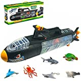KidzLand New Model STEAM Submarine sea Creature Bath Toy, All in one Submarine Toy ; 22 Inch Long Underwater Boat with Shark, Dolphin, Manta Ray, Octopus, Turtle, and Seal;Great Toy for Kids