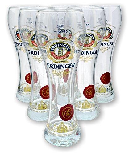 6 Stück Erdinger Weissbier Gläser 0,5l - 130 Jahre Jubiläums Edition