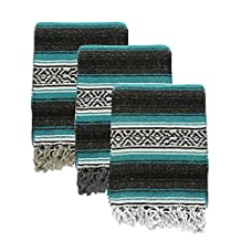 Yogavni Yogavni-Mex-Blanket-Teal Deluxe Extra Thick and Soft Mexican Yoga Blanket in Traditional Stripes and Vibrant Colors, Teal