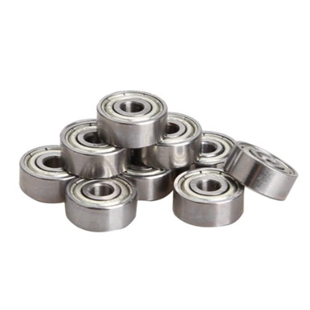 CDKJ Package of 10 pcs Miniature radial ball bearings 3x10x4mm 623ZZ for practical Silver Chrome Steel Bearings RC Car