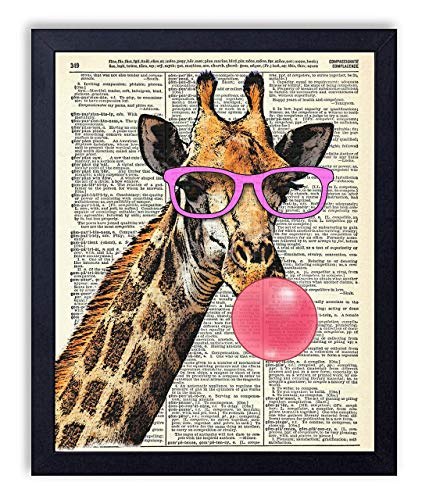 Giraffe in Pink Glasses Blowing Bubble Vintage Wall Art Upcycled Dictionary Art Print Poster 8x10 inches, ()