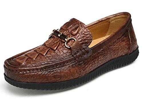 Tda Mens Komfort Krokodil Print Läder Driv Loafers Båt Skor Brun