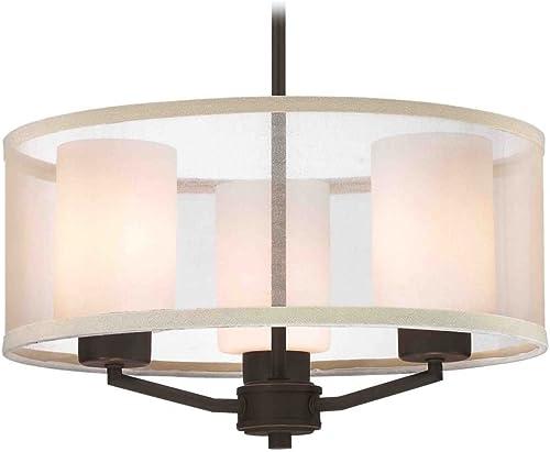 Design Classics Lighting Organza Drum Pendant Light Bronze 3-Light