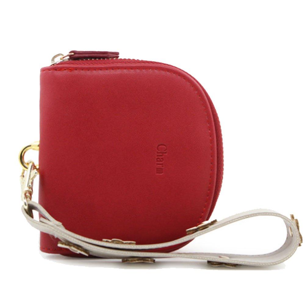 Edmen wallet women small slim minimalist Leather Zipper Hand Purse Wristlet Coin Change Purse (Red)