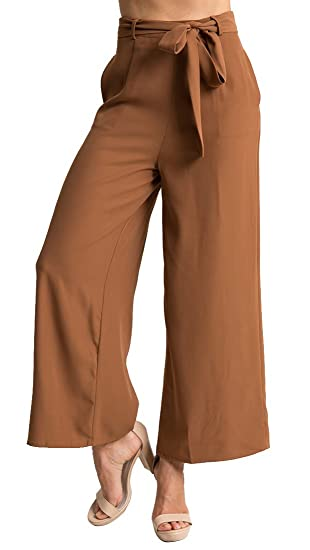 12b9f0bd2b MISTY STORY Women's High Waist Belted Casual Loose Wide Leg Palazzo Pants  With Pockets at Amazon Women's Clothing store: