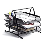 NEATOPA Premium Letter Tray with Pen Holder | Mesh Metal Document Tray | Stackable Desk Organizer Trays | Letter Organizer | Desk Paper Organizer | Paper Rack (Black)