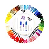 Embroidery Starter Kit Cross Stitching Sewing Kit Includes Embroidery Stitching Punch Needle Set, Bamboo Embroidery Hoop, 50 Color Threads, 2 Pieces Cross Stitch Cloth, Scisso