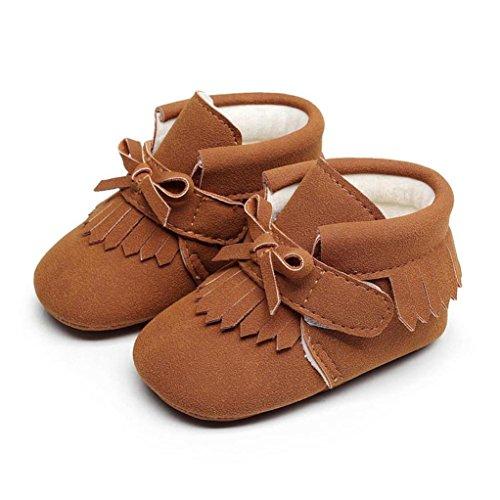 Baby Warm Shoes, Toddler Newborn Baby Boys Girl Crib Winter Boots Prewalker (12~18 Month, Brown) -