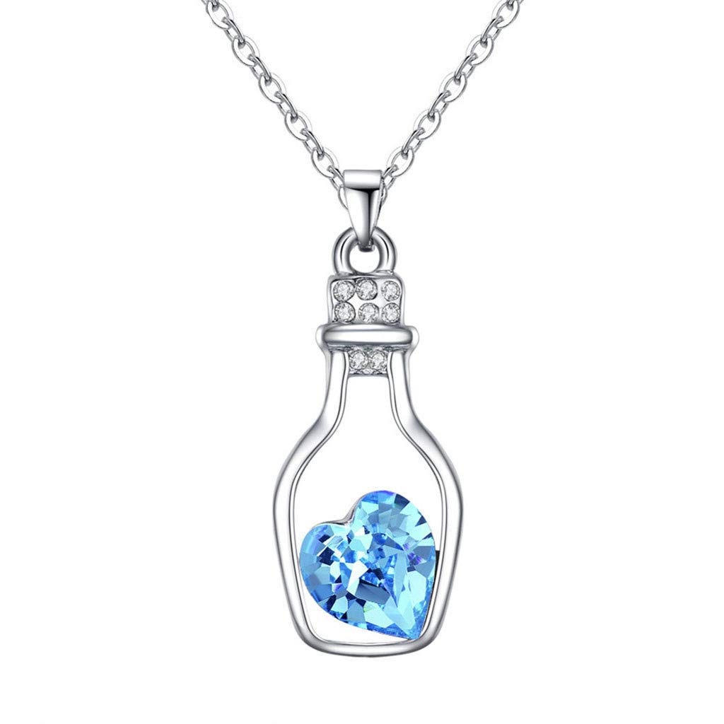 sameno 2019 Crystal Heart Pendant Necklace for Women Valentine's Day/Anniversary/Birthday Girl Gift (Blue)