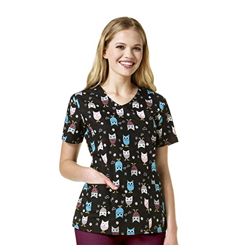 Zoe And Chloe Women's V-Neck Owl Print Scrub Top X-Large Print